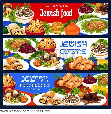 Jewish Food Vector Cholent With Potatoes, Salad Of Eggs And Giblets, Jerusalem Burekas. Carrot Tsime