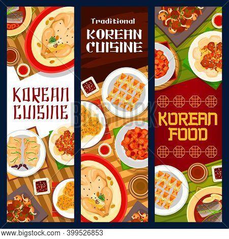 Korean Cuisine Menu Food Dish, Restaurant Banners, Korea Traditional Meals, Vector. Korean Cuisine F