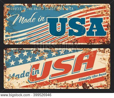 Made In Usa Rusty Metal Plate, Vector Vintage Rust Tin Sign With American Flag Pattern And Typograph