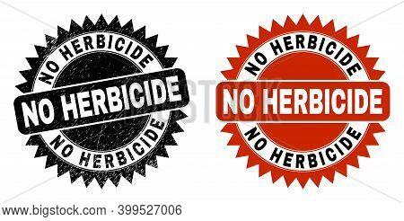 Black Rosette No Herbicide Seal Stamp. Flat Vector Textured Seal Stamp With No Herbicide Message Ins