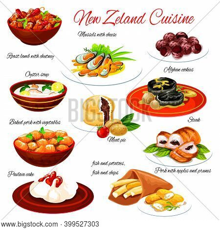 New Zealand Seafood And Meat Food With Vegetables. Vector Lamb Chutney, Fish And Chips, Meat Pie And