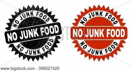 Black Rosette No Junk Food Seal Stamp. Flat Vector Textured Seal Stamp With No Junk Food Caption Ins