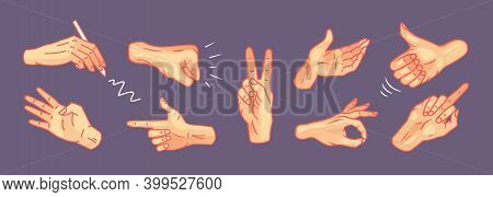 Hands In Different Gestures Vector Set. Hand Showing Gesturing Signal Collection. Various Arm Signs