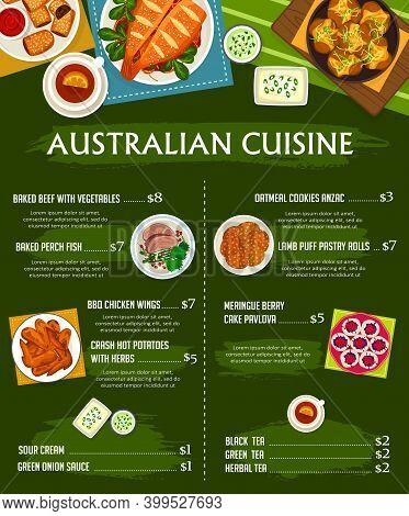 Australian Cuisine Vector Menu Template Bbq Chicken Wings, Sour Cream And Green Onion Sauce. Crash H