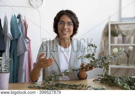 Young Woman Vlogger Flower Designer Explaining Basics Of Floral Composition