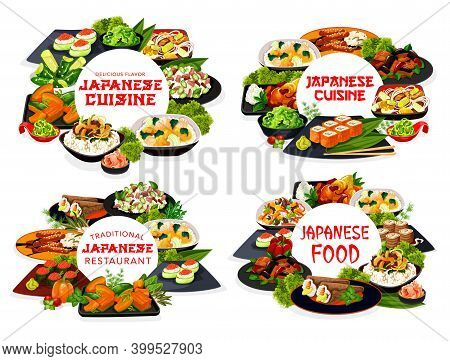 Japanese Cuisine Sushi, Rice And Noodle Vector Dishes With Fish, Meat And Vegetables. Salmon Rolls,