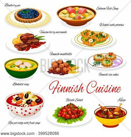 Finnish Cuisine Vector Fish Dishes With Meat, Vegetable And Berry Dessert. Salmon And Duck Soups, Me
