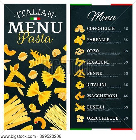 Pasta, Italian Cuisine Food Menu, Restaurant Dishes, Vector Cover And Price. Italy Traditional Pasta