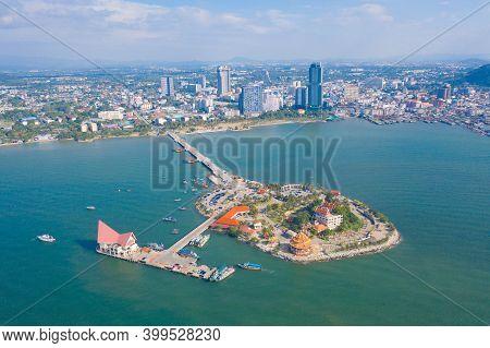 Aerial View Of Ko Loi Island, Sri Racha With Ocean Beach Or Sea, Chonburi Skyline, Thailand. Urban C