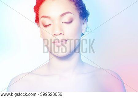 Young beautiful african american woman meditates or dreams, modern art