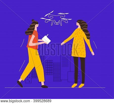 Female Drone Pilot. Girl Stands With Control Panel From The Drone. Women Launch An Unmanned Aerial V