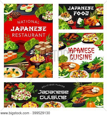 Japanese Cuisine Restaurant Rice, Fish, Meat, Vegetable Vector Dishes With Dessert. California Rolls