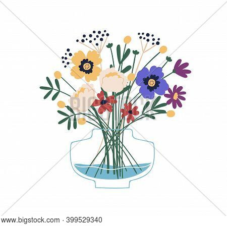 Floristic Composition Of Beautiful Garden And Meadow Flowers In Glass Vase. Elegant Bouquet Of Wildf