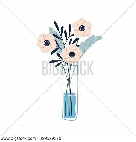 Floristic Composition Of Garden Flowers In Glass Vase. Beautiful Bouquet Of Cut Fresh Anemones And M