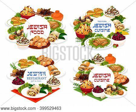 Jewish Food Vector Salad Of Eggs And Giblets, Macaroon Ratafia, Jerusalem Burekas. Carrot Tsimes, Bu