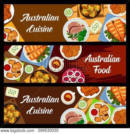 Australian Food Vector Baked Beef With Vegetables, Meringue Berry Cake Pavlova And Bbq Chicken Wings