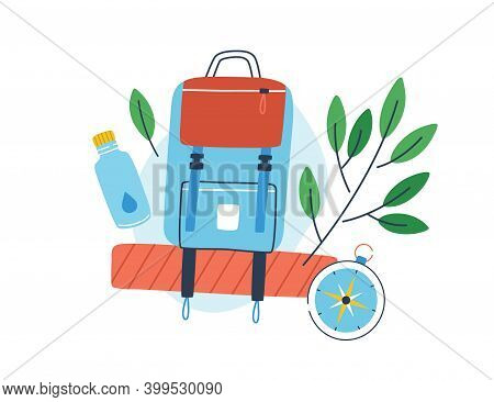 Concept Of Exploration, Ecotourism And Hiking. Composition Of A Backpack, Bottle Of Water And Compas