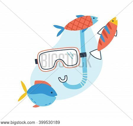 Concept Of Underwater Tour And Snorkel Excursion. Composition Of Diving Mask And Tube And Exotic Fis