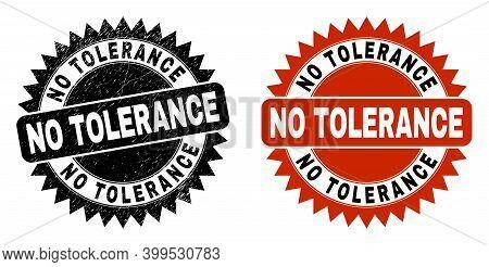Black Rosette No Tolerance Seal Stamp. Flat Vector Distress Seal Stamp With No Tolerance Message Ins