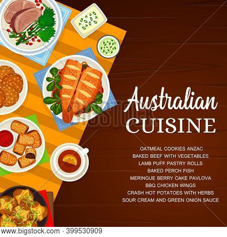 Australian Cuisine Vector Oatmeal Cookies Anzac, Bbq Chicken Wings And Sour Cream. Lamb Puff Pastry