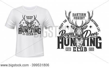 Tshirt Print With Sketch Deer, Vector Mascot For Royal Hunting Club. Engraving Reindeer On White App