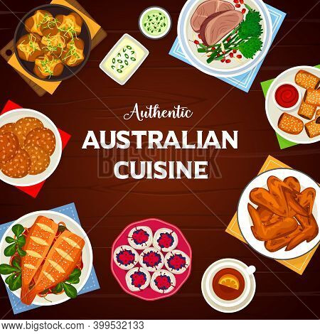 Australian Cuisine Vector Crash Hot Potatoes With Herbs, Lamb Puff Pastry Rolls And Oatmeal Cookies