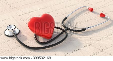 Medical Checkup, Heart Disease Diagnosis. Stethoscope On A Cardiogram Background. 3D Illustration.