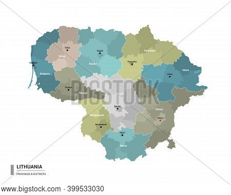 Lithuania Higt Detailed Map With Subdivisions. Administrative Map Of Lithuania With Districts And Ci