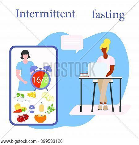 Vector Illustration Nutrition Consultant Online Explains Intermittent Fasting Method 16/8, Time-rest