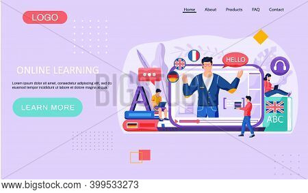 Online Internet Language Courses Landing Page Template. Foreign Speech Study At Home Using Computer.