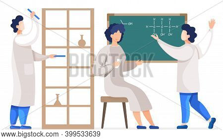 Professional Chemists In Their Laboratory Makes Different Experiments, Communicating. Female Medical