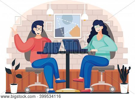 Couple Is Working In Telecommuting With Laptop. People Are Sitting In A Cafe And Communicating. Char