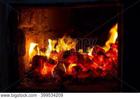 Coals In The Stove, Colorful View Of A Rustic Stove
