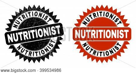 Black Rosette Nutritionist Watermark. Flat Vector Distress Watermark With Nutritionist Title Inside