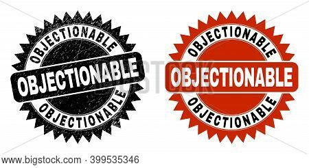 Black Rosette Objectionable Stamp. Flat Vector Distress Stamp With Objectionable Caption Inside Shar