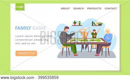 Family Game Landing Page Template With Happy People Parents And Children Playing Board Game Spending