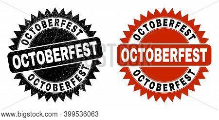 Black Rosette Octoberfest Watermark. Flat Vector Grunge Watermark With Octoberfest Caption Inside Sh