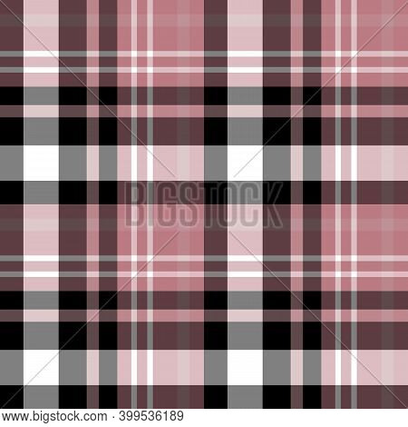 Seamless Pattern In Black, White, Discreet Pink Colors For Plaid, Fabric, Textile, Clothes, Tableclo