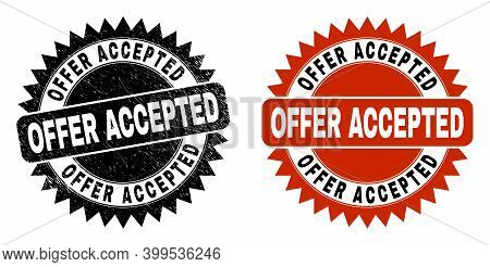 Black Rosette Offer Accepted Watermark. Flat Vector Scratched Seal With Offer Accepted Title Inside