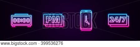 Set Line Digital Alarm Clock, Clock Pm, Alarm App Mobile And 24 Hours. Glowing Neon Icon. Vector