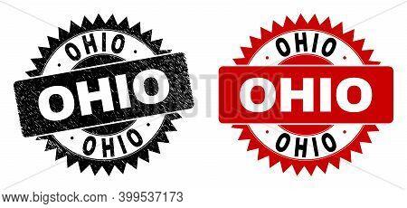 Black Rosette Ohio Seal Stamp. Flat Vector Grunge Watermark With Ohio Title Inside Sharp Star Shape,