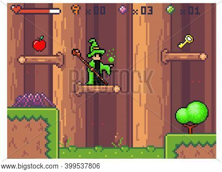 Pixel Computer Game Interface. Wizard In Mantle Waiting For The Hero. Character In Costume Works Wit