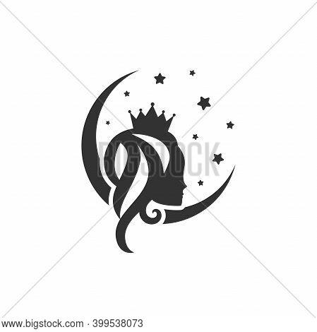 Moon Princess. Beautiful Princess With Crown, Stars And Crescent.