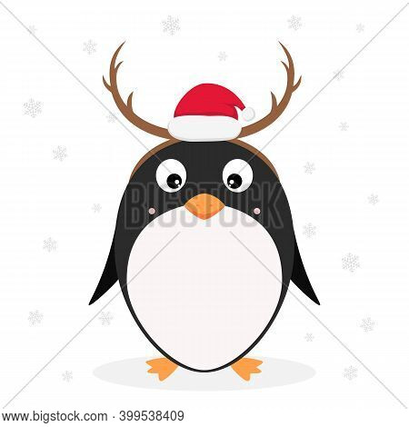 Christmas Theme. Little Cute Penguin With Santa's Hat And Antlers Isolated On White Background With