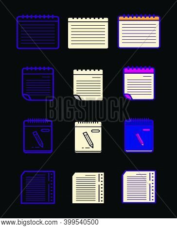Set Of Block Notes Cartoon Icon Design Template With Various Models. Modern Vector Illustration Isol