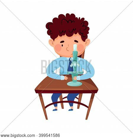 Clever Boy Sitting At Desk At Chemistry School Lesson Vector Illustration