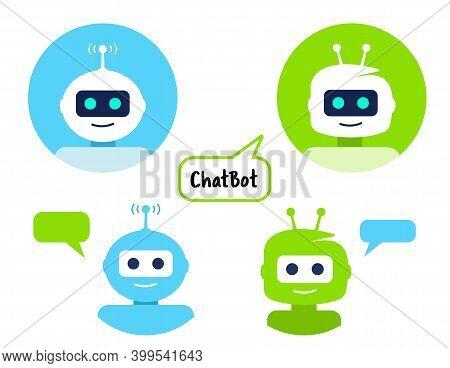 Robot Icon Set. Chat Bot Sign Design. Chat Bot Symbol, Circle Logo Template.
