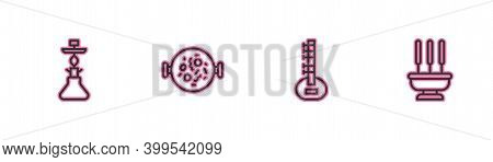 Set Line Hookah, Sitar, Chicken Tikka Masala And Incense Sticks Icon. Vector