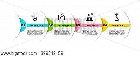 Set Line Hamsa Hand, Taj Mahal, Bollywood Indian Cinema And Hookah. Business Infographic Template. V