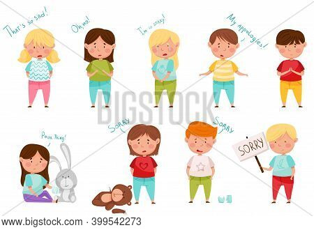 Little Boy And Girl Feeling Sorry And Expressing Regret For Bad Thing Vector Set
